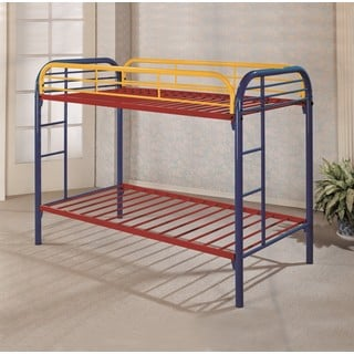 Lyke Home Mellisa Blue/Red/Yellow Metal Twin/Twin Rainbow Bunk bed