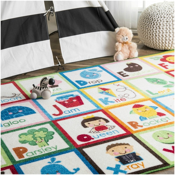 nuloom playtime abc animal educational alphabet multi kids area rug 5u0027 x