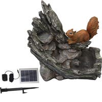 Solar Squirrel Stream Fountain With Solar Water System