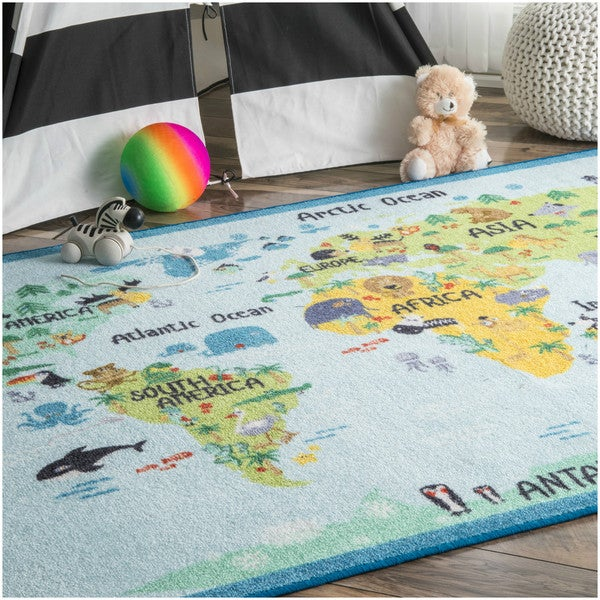 NuLOOM Playtime World Continent Map Animal Educational Multi Kids Area Rug  (5u0026#x27;