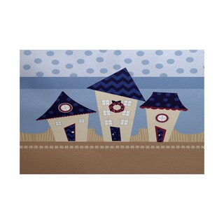 Coastal Houses Geometric Print Indoor/ Outdoor Rug (4' x 6')