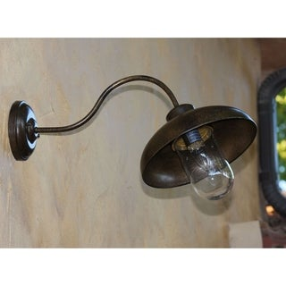 Exterior Industrial 1-light Dark Bronze Finish Slender Arm Light Fixture with Minimalistic Shade