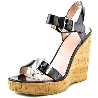 Stuart Weitzman Women's 'Two Much' Black Patent Leather Wedge Sandals