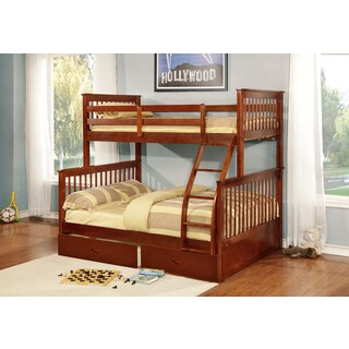 Lyke Home Rocky Wood/Veneer Twin/Full Bunk Bed with 2 Storage Drawers