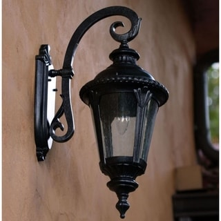 Dallin Clear Seedy Glass Brownstone Forged Metal Exterior Light