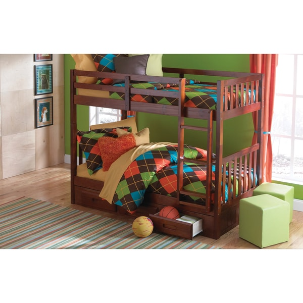 Donco kids merlot wood mission style twin over twin bunk for Kids twin bed with drawers