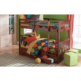 Donco Kids Merlot Wood Mission-style Twin-over-twin Bunk Bed With 3 Drawers