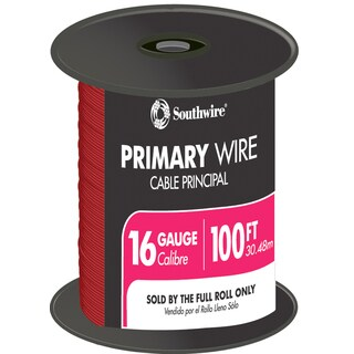Southwire 55668023 100' Red 16 Gauge 19 Strand Primary Auto Wire