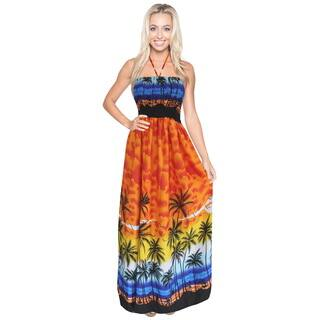 La Leela 3-in-1 Likre Women's Orange Silk Palm Tree Beach View Halter Neck Backless Long Tube Casual|https://ak1.ostkcdn.com/images/products/11952755/P18839143.jpg?impolicy=medium
