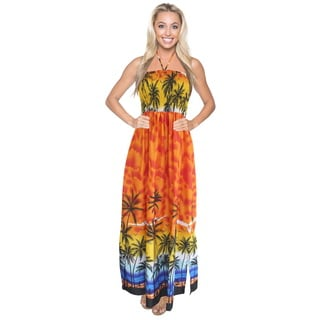 La Leela Likre Stretchy Maxi Palm Tree Sea View Smocked Long Tube Dress Orange