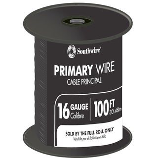 Southwire 55666623 100-foot Black 16 Gauge 19 Strand Primary Auto Wire