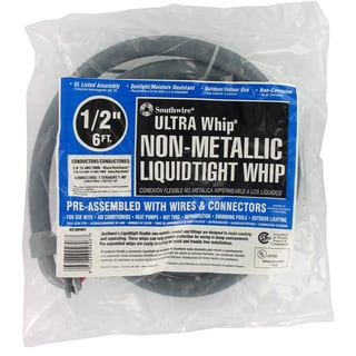 "Southwire 55189407 1/2"" x 72"" Pre-Assembled Non-Metallic Hook Up Whips"