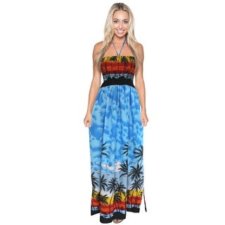 La Leela Likre Palm Tree Beach View Halter Neck Backless Long Tube Dress Blue
