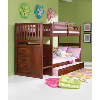 Donco Kids Mission Stair Step Twin/Twin Bunk Bed with Twin Trundle