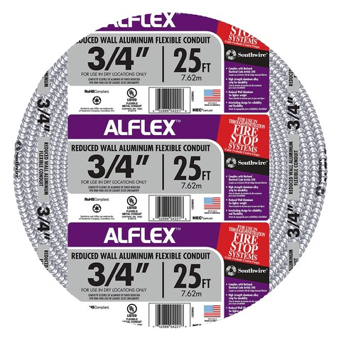 "Southwire 55082321 3/4"" X 25' Armor Flex Reduced Wall Flexible Aluminum Condui"