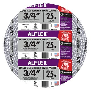 "Southwire 55082321 3/4"" X 25' Armor Flex Reduced Wall Flexible Aluminum Condui"