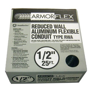 "Southwire 55082121 1/2"" X 25' Armor Flex Reduced Wall Flexible Aluminum Condui"