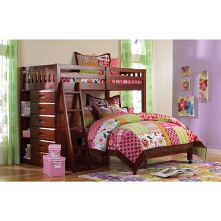 Donco Kids Merlot Twin Loft Over Full-size Bed With 6-drawer Chest and Bookcase