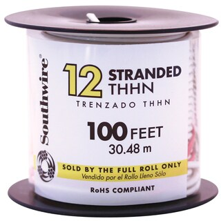 Southwire 22965852 100' White 12 Gauge 19 Strand Copper Building Wire