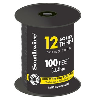 Southwire 22964152 100' Black 12 Gauge Stranded Copper Building Wire