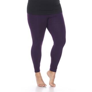 White Mark Women's Plus Size Super-Stretch Solid Leggings