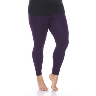 White Mark Women's Plus Size Super-Stretch Solid Leggings