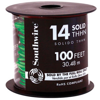 Southwire 22959152 100' Green 14 Gauge Stranded Copper Building Wire