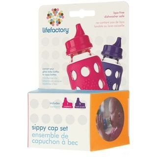 Lifefactory Raspberry/Royal Purple 4-ounce and 9-ounce Bottle Sippy Caps