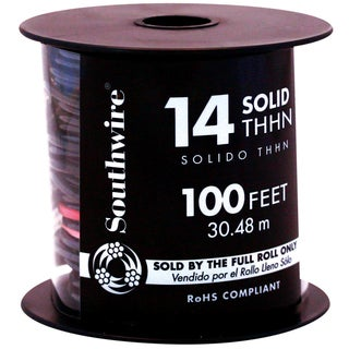 Southwire 22955952 100' Black 14 Gauge Stranded Copper Building Wire