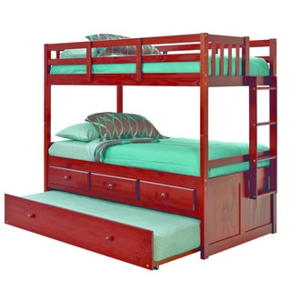 Pine Ridge Triplex Chocolate-lacquer Wood Trundle Bunk Bed