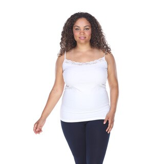 White Mark Women's Plus-size Lace-trim Cami