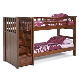 Brown Lacquer-finished Pine Stairway Bunk Bed