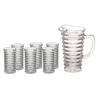 Clear Crystal Pitcher and 6 Glasses (7-piece Set)