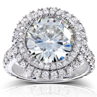 Annello 14k White Gold 4 3/4ct Round Forever Brilliant Moissanite and 1 1/10ct TDW Diamond Double Halo Ring (G-H, I1-I2)