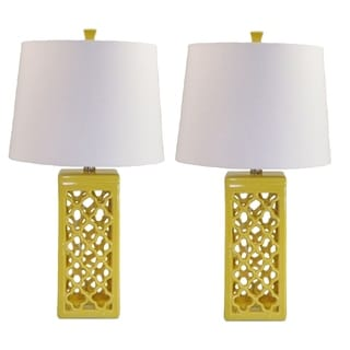 Dara Yellow Glazed Ceramic White Drum Shade 2-piece Lamp Set
