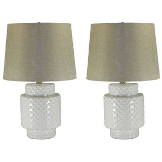 Kara White Ceramic Linen Shade 2-piece Hobnail Lamp Set