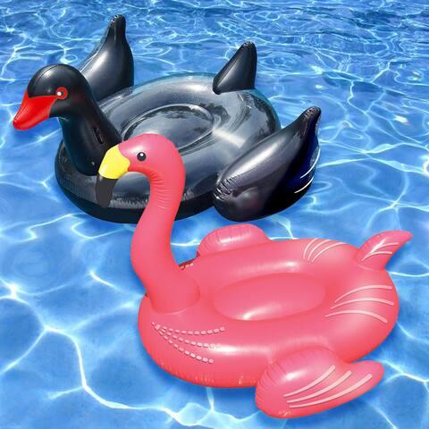 Swimline Giant Black Swan and Flamingo (Set of 2)