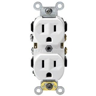 Leviton S02-0CR15-0WS White 15 Amp Narrow Body Duplex Receptacle