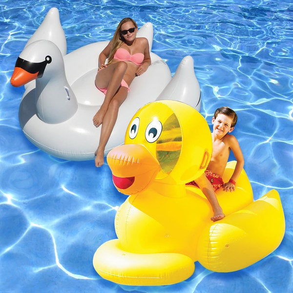 Swimline Multi-color Vinyl Swan and Ducky Swimming Pool Floats (Set of 2)