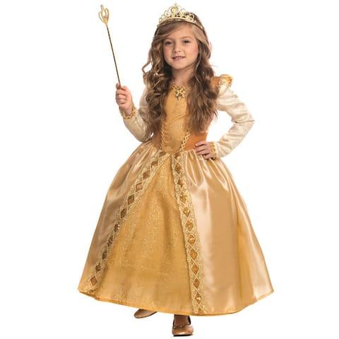 Girls' Gold Polyester Majestic Princess Costume