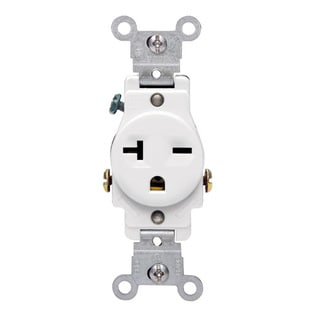 Leviton S02-05821-WSP White Commercial Grade Straight Blade Single Receptacle