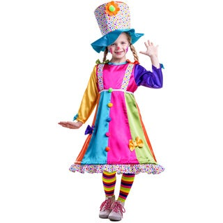 Dress Up America Girls' Polyester Polka-dot Clown Costume