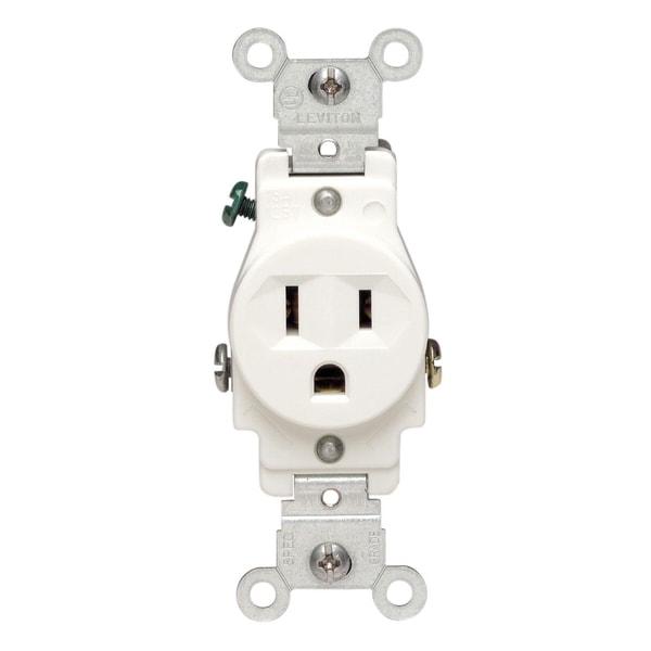 Shop Leviton S02-05015-KWS 125 Volt White Single Outlet Receptacle ...