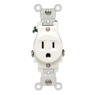 Leviton S02-05015-KWS 125 Volt White Single Outlet Receptacle