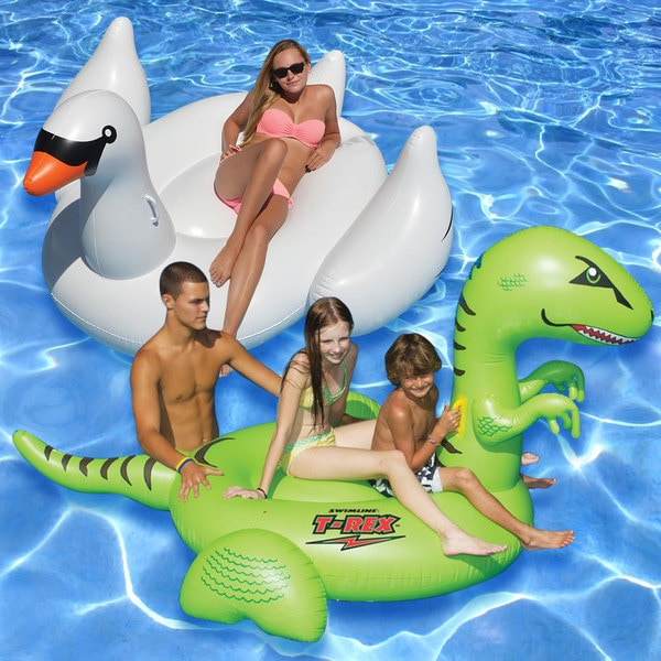 Swimline Giant Swan and T-rex Inflatable Float (Set of 2)