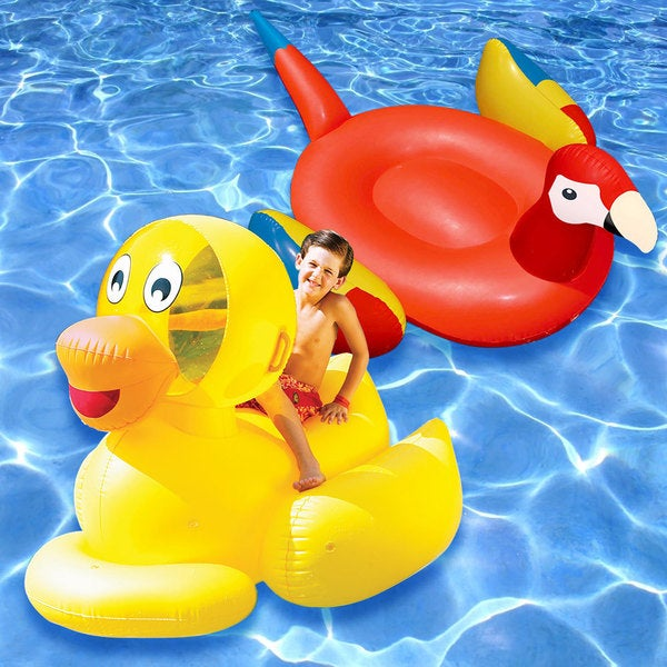 Swimline Multicolored PVC Giant Parrot and Ducky Swimming Pool Floaties (Set of 2)
