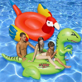 Swimline Parrot and Tyrannosaurus rex PVC Giant Inflatable Pool Floats (Set of 2)