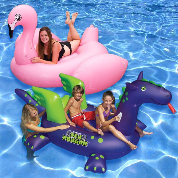 Multicolor Vinyl Jumbo Flamingo and Giant Sea Dragon Swimming Pool Floats (Set of 2)