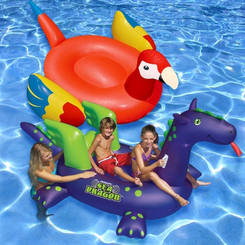 Swimline Giant 2-pack Parrot and Sea Dragon Inflatable Floats