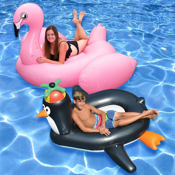 Jumbo Flamingo and Giant Penguin Inflatable Pool Floats (2-Pack)